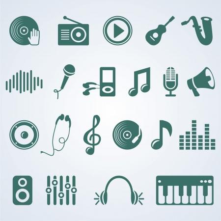 auriculares dj: conjunto de iconos de la música - pictograma silueta