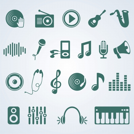 music symbols:  set of music icons - silhouette pictogram