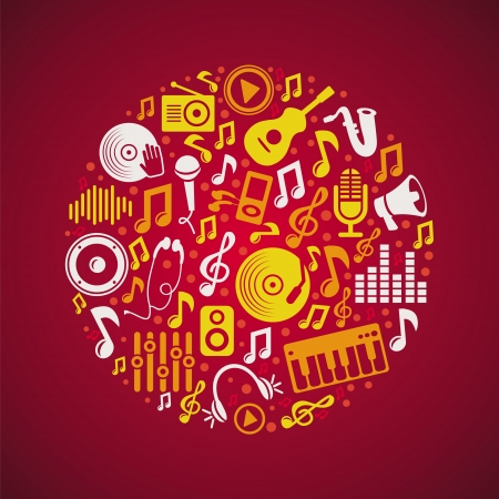 music concept with bright icons and notes Stock Vector - 16170422