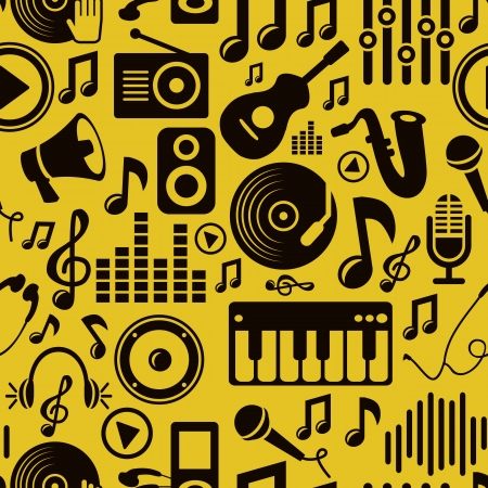 record player:  music seamless pattern with icons and pictogram Illustration