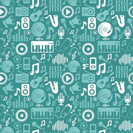 music seamless pattern with icons and pictograms Vector