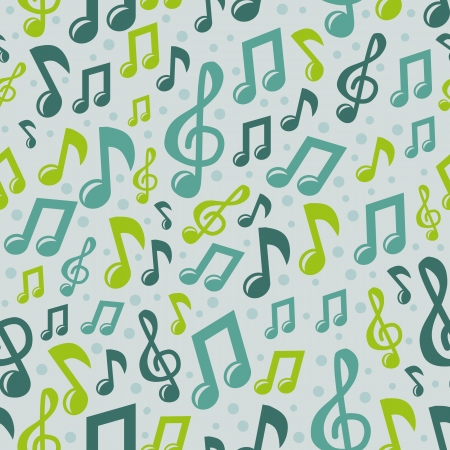 doodle art clipart:  music seamless pattern with bright note icons