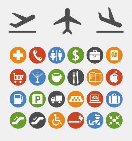 navigation pictogram:  collection of icons and pointers for navigation in airport