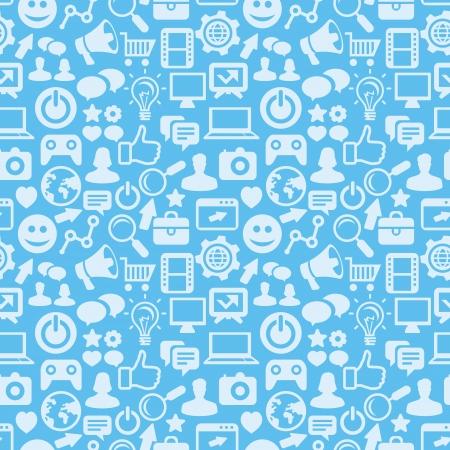 interaccion social: patrón transparente con iconos de medios sociales - fondo abstracto