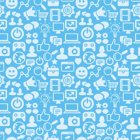 tecnology:  seamless pattern with social media icons - abstract background Illustration