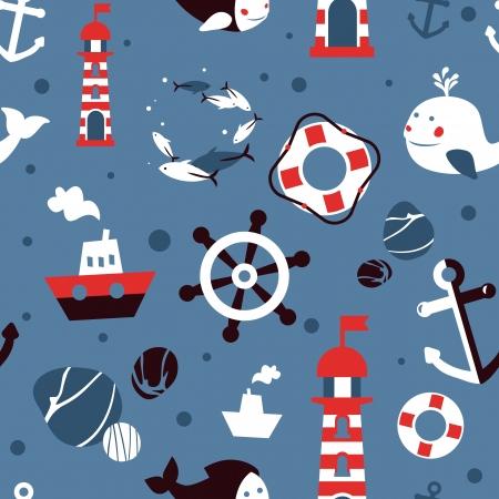 barca a vela: seamless pattern con icone mare - sfondo astratto