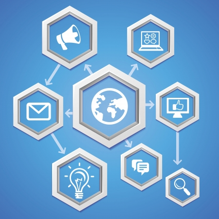 social media concept:  social media concept - abstract illustration with hexagons and icons