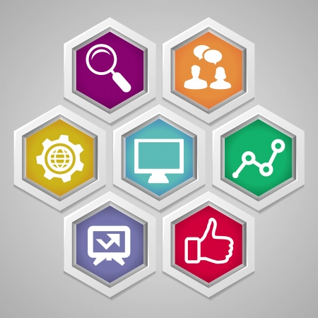 information society:  social media concept - abstract illustration with hexagons and icons