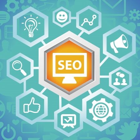 seo marketing:  social media concept - abstract design elements