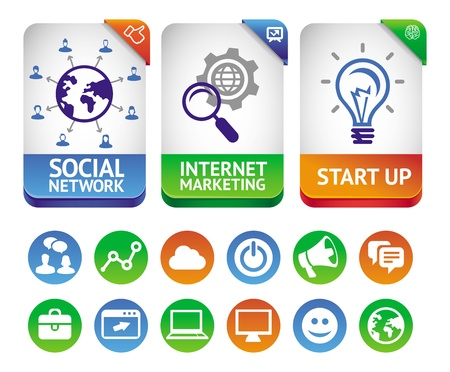 network marketing:  internet marketing labels - abstract design elements and social media icons