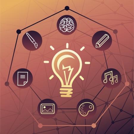 Vector idea concept - creative background with light bulb icon Stock Vector - 16307104