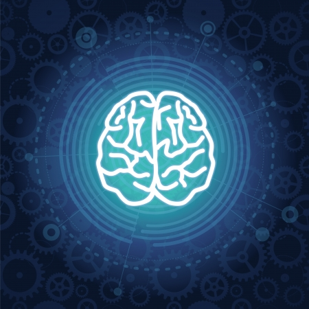 brain icon: Vector creativiy concept - brain illustration on blue background