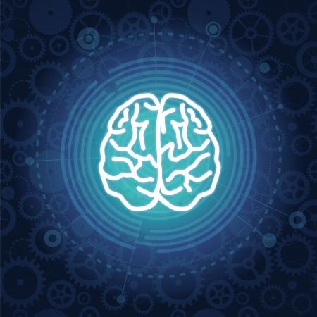 brain work: Vector creativiy concept - brain illustration on blue background