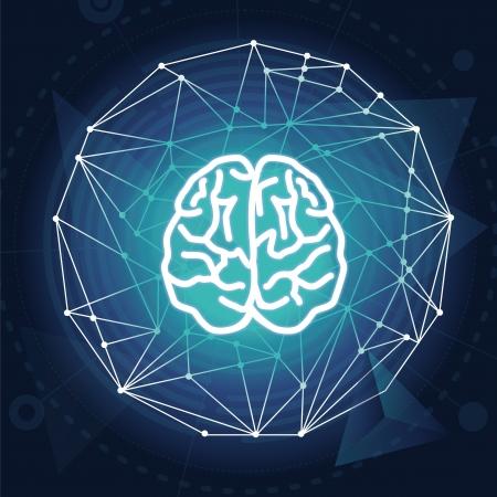 conceito: Vector creativiy conceito - ilustra��o do c�rebro no fundo azul Ilustração