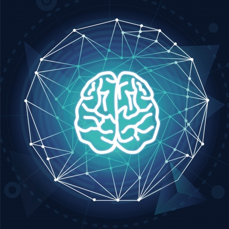 intellect: Vector creativiy concept - brain illustration on blue background