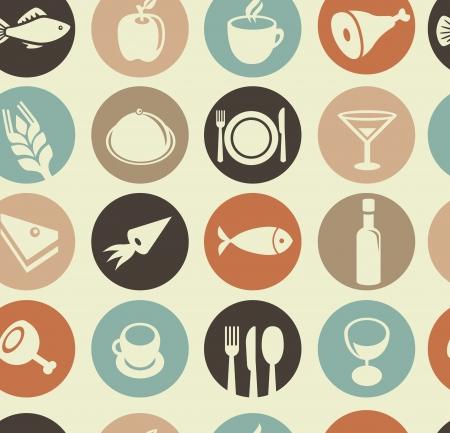 mag: Mod�le vectoriel sans soudure avec des ic�nes restaurant et alimentation Illustration