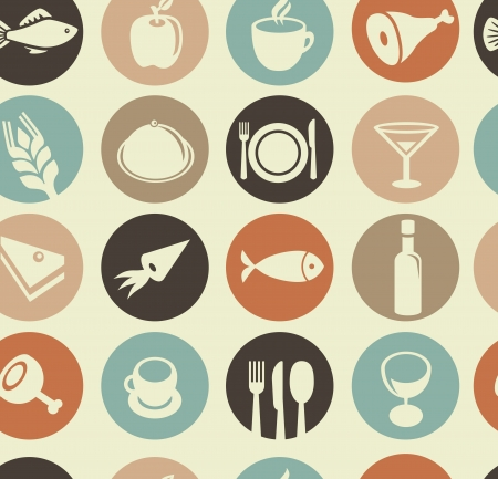 Vector seamless pattern with restaurant and food icons Vector