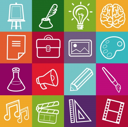 escritores: Vector conjunto de iconos creativos - elementos de dise�o para la cartera Vectores
