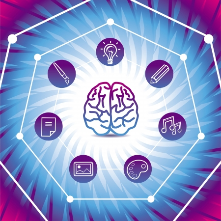Vector creativiy concept - brain icon on blue background Stock Vector - 16307098