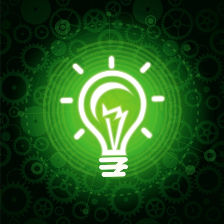 glowing light bulb: Vector idea concept - creative background with light bulb icon