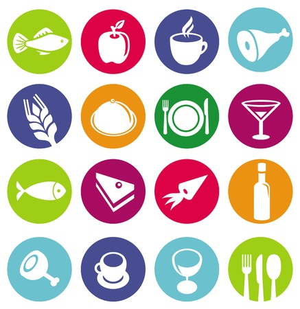 mag: Vector ic�nes ensemble ou un restaurant et la nourriture - pictogrammes sur les milieux