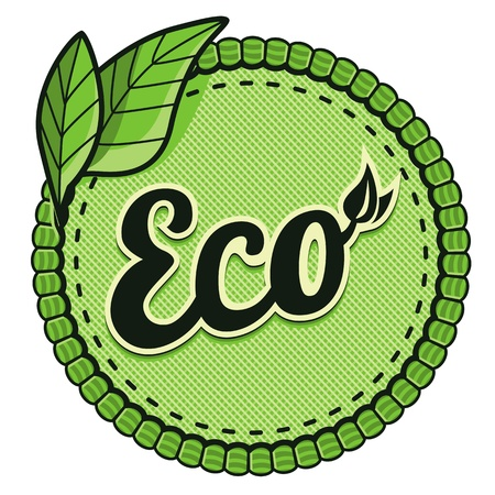 Vector ecology label - eco sign and text on round sticker Stock Vector - 16307097