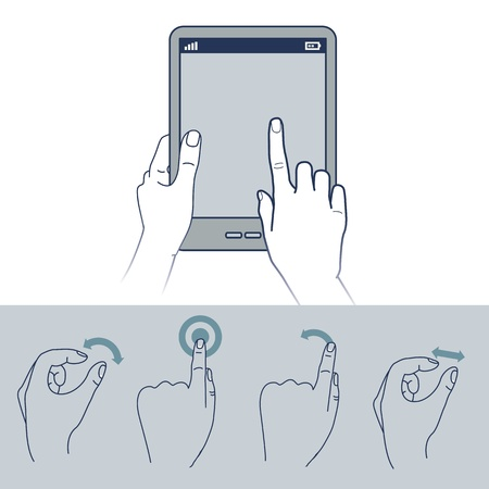 toque: �cones da m�o do vetor - ilustra��o da interface touchscreen Ilustra��o