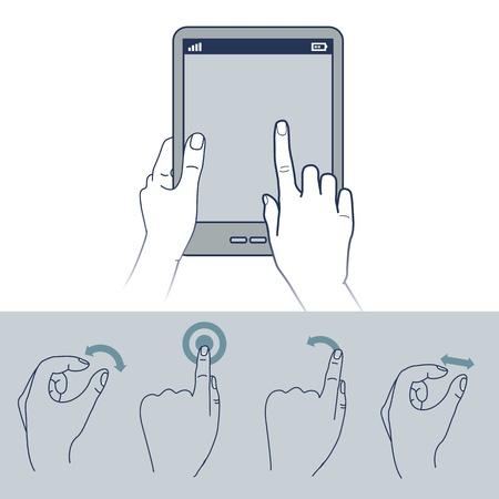 touchscreen: iconos vectoriales de mano - ilustraci�n interfaz de pantalla t�ctil