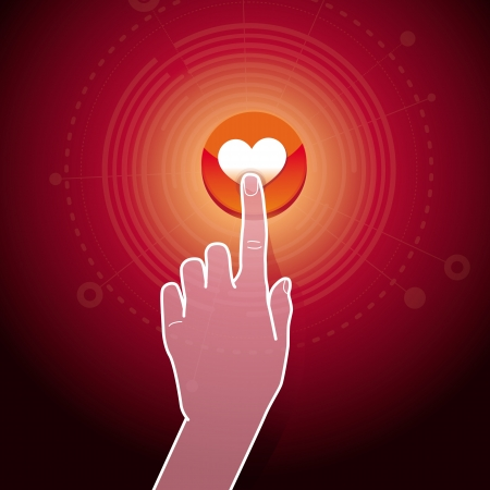 infographics touchscreen: Vector like concept - hand touching button with heart sign Illustration