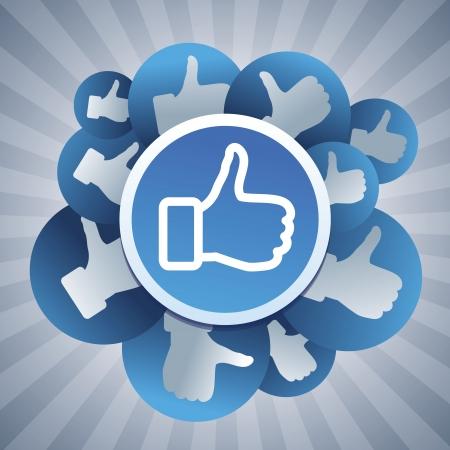 interaccion social: Vector social media concept - pegatinas con signos como