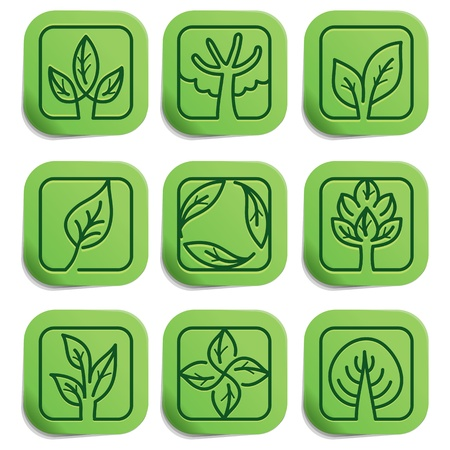 Vector eco labels - green stickers on paper with nature signs Stock Vector - 16307109