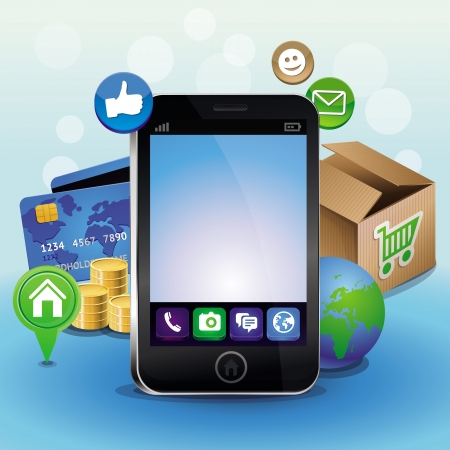mobile device: Vector mobile phone and icons - internet shopping concept Illustration