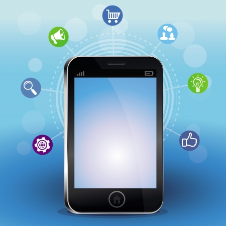 infographics touchscreen: Vector mobile phone with touchscreen and social media icons - technology concept Illustration