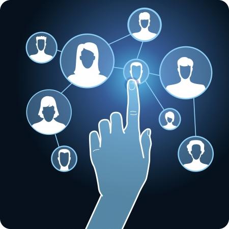 Vector sociale media netwerk - hand en touchscreen met pictogrammen Vector Illustratie
