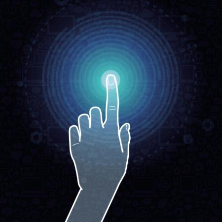 Vector concepto pantalla táctil - hand sign internet conmovedora Ilustración de vector