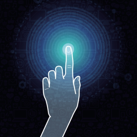 click icon: Vector touchscreen concept - hand touching internet sign Illustration