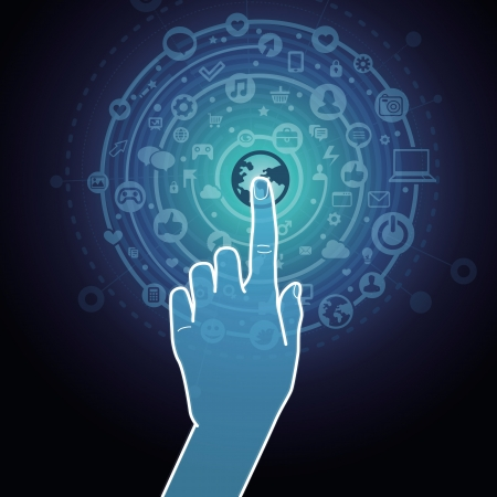 Vector touchscreen concept - hand touching internet sign with social media icons Illustration