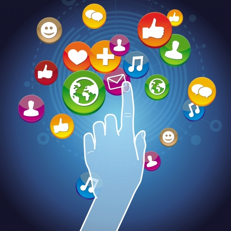 infographics touchscreen: Vector touchscreen concept - hand touching internet sign with social media icons Illustration