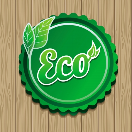 Vector eco label - green sticker on wooden background Vector