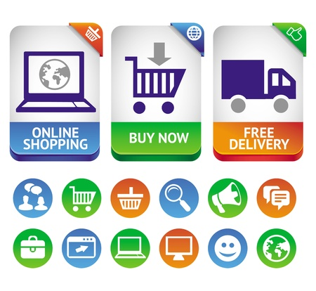 technology transaction: design elements for internet shopping - icons and signs Illustration