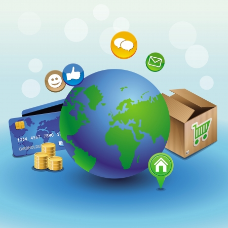 internet shopping concept - with globe and icons Stock Vector - 16440342