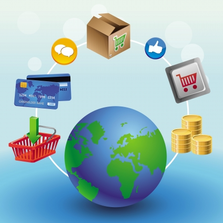 internet shopping concept - with globe and icons Vector