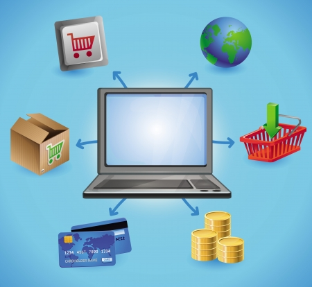internet shopping concept - with laptop and icons Vector