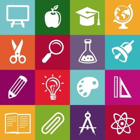 escuela caricatura: patrón transparente con iconos de la educación - fondo abstracto Vectores
