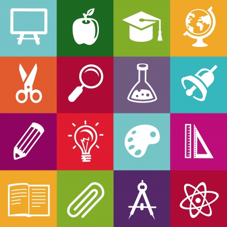Education icon: seamless pattern with education icons - abstract background