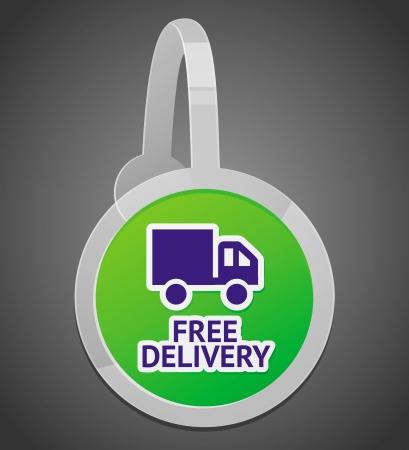wobbler: sign with free delivery icon - internet shop design element Illustration