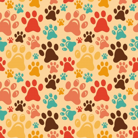 feline: seamless pattern with animal paws