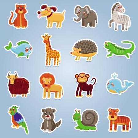 raton laveur: collection de 16 animaux de dessin anim� - de dr�les de personnages