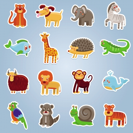 collection with 16 cartoon animals - funny characters Vector