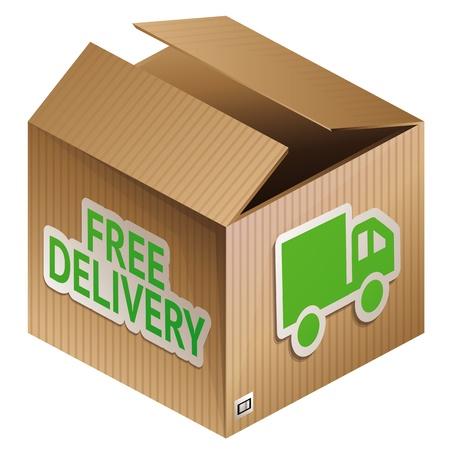 boîte avec l'icône de la livraison gratuite - achats icône internet Vecteurs
